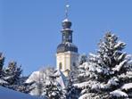 Verschneiter Kirchturm, Pretzschendorf