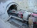 15.07.2006: Die Tunnelbohrmaschine ist an der Vorsperre angekommen